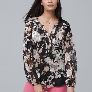 White house black market floral split neck blouse